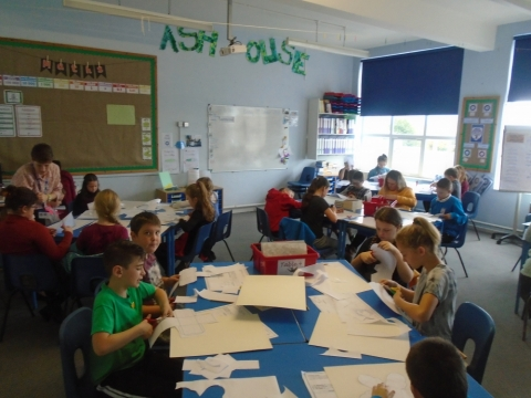 Swallow class working hard to produce good quality packaging for their Magical Flapjack.